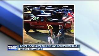 Police looking for truck flying the Confederate flag