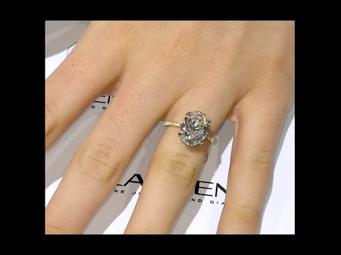 5 carat Oval Diamond Engagement Ring in Yellow Gold and Platinum