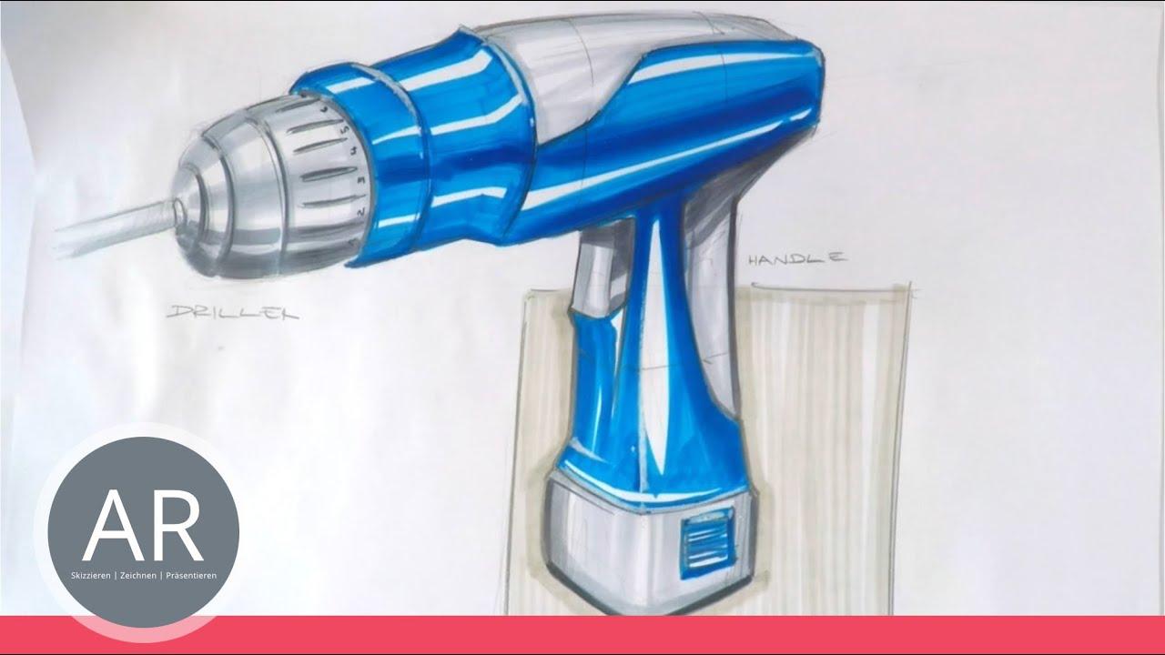 Zeichnen lernen bohrmaschine akademie ruhr tutorial for Mappe produktdesign