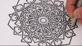 How to draw geometry - adding detail to an extended 12-fold rosette