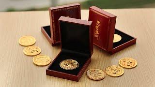 Đồng xu hình Khỉ mạ vàng 24K, giá bán đồng Lộc kim năm Bính Thân 2016