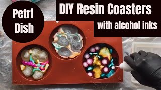 How to Make Coasters out of Resin and Alcohol Inks // Petri Dish Coasters DIY