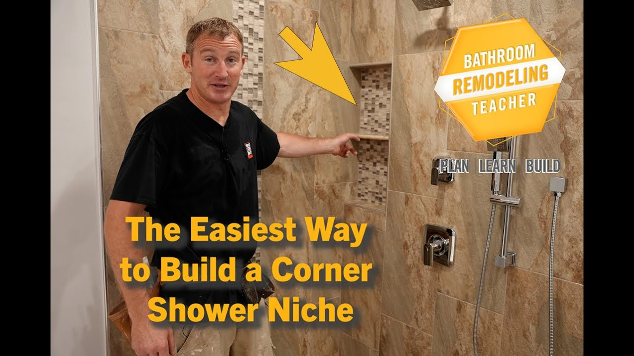 The Easiest Way to Build a Corner Shower Niche l PLAN-LEARN-BUILD
