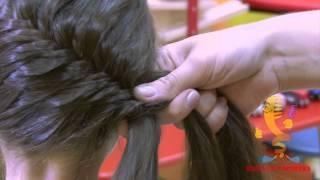 Плетём ребёнку: коса 'рыбий хвост' на голове