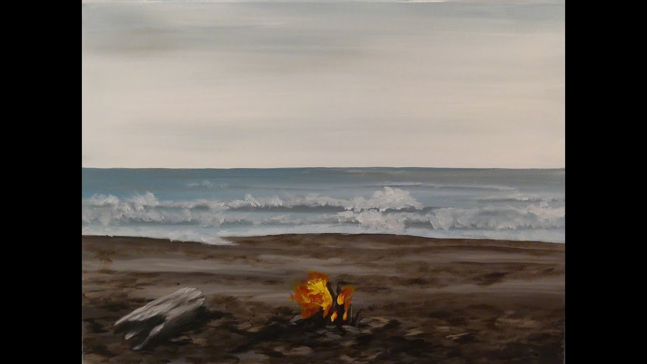 Fireside Beach Step By Step Acrylic Painting On Canvas For