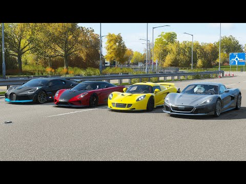Forza Horizon 4 Drag race: Rimac C2 vs Bugatti Divo vs Regera vs Hennessey Venom GT