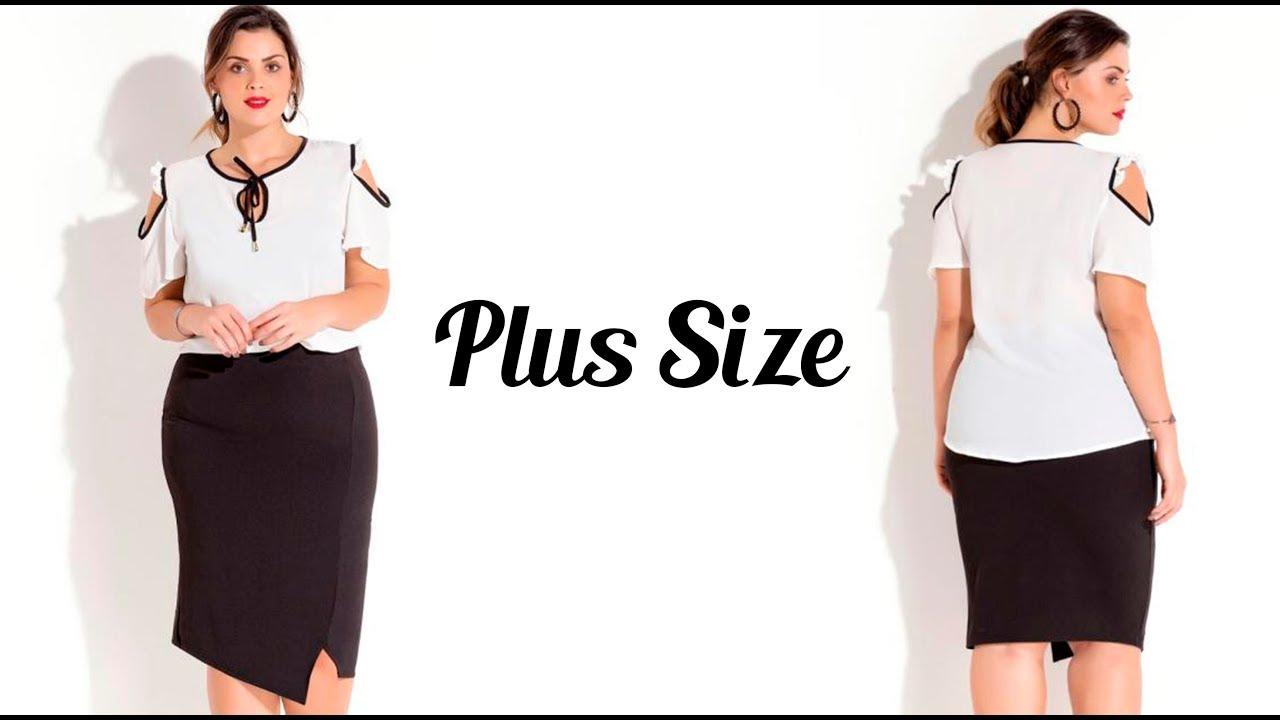 0710cb8a3e97 Saia Lápis Assimétrica Preta Plus Size Quintess - Beline Moda Plus Size