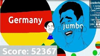 AGAR.IO BRAZIL & GERMANY #1 - A EVOLUÇÃO DE 52k SCORE | AGAR.IO (52.367 MASS)