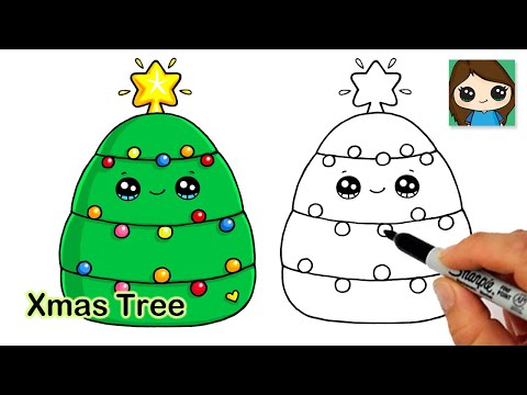 How To Draw A Christmas Tree Easy 🎄Holiday Squishmallows