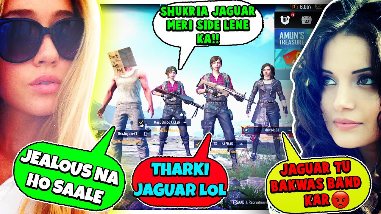 Joined Random Squad Of Girls Like A Bot | HUGE FIGHT - Larki or LARKA larne Lag Gae - Pubg Mobile