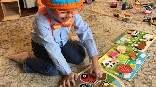 Blippi's fan- William Enjoying Putting-Solving Farm Animals/Tractors Wooden Puzzles Part