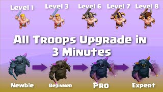 Upgrade All Troops in 3 Minutes |  Clash of Clans All Troops Upgrades in Every Level