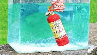 EXPERIMENT OPENING FIRE EXTINGUISHER UNDERWATER