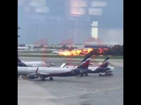Aeroflot Superjet 100 just landed in fire at Moscow's Sheremetyevo Airport