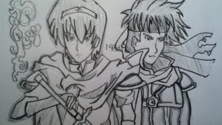 Drawing Marth and Ike from Fire Emblem Awakening, Super Smash Bros