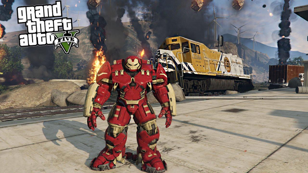 GTA 5 Mods Iron Man vs Train vs Meteors