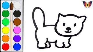 Как нарисовать КОТЁНКА / мультик раскраска КОТЁНОК  для детей / Раскраски малышам