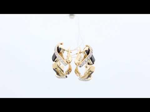 Золотые серьги Гиалит с фианитом и ониксом С905-О