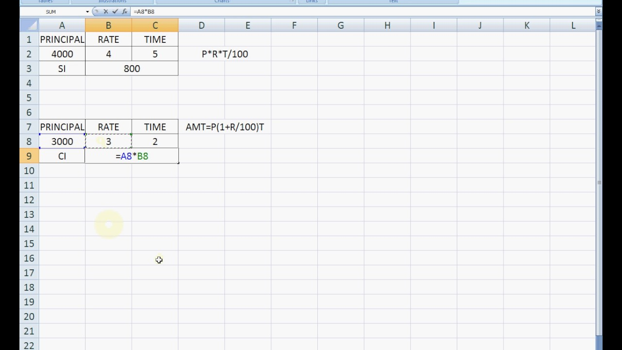 simple and compound interest calculation in excel hindi