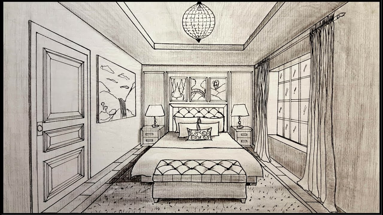drawing a bedroom in one point perspective timelapse youtube. Black Bedroom Furniture Sets. Home Design Ideas