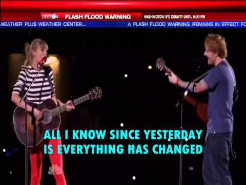 Taylor Swift Everything Has Changed ft Ed Sheeran( lyrics on screen)