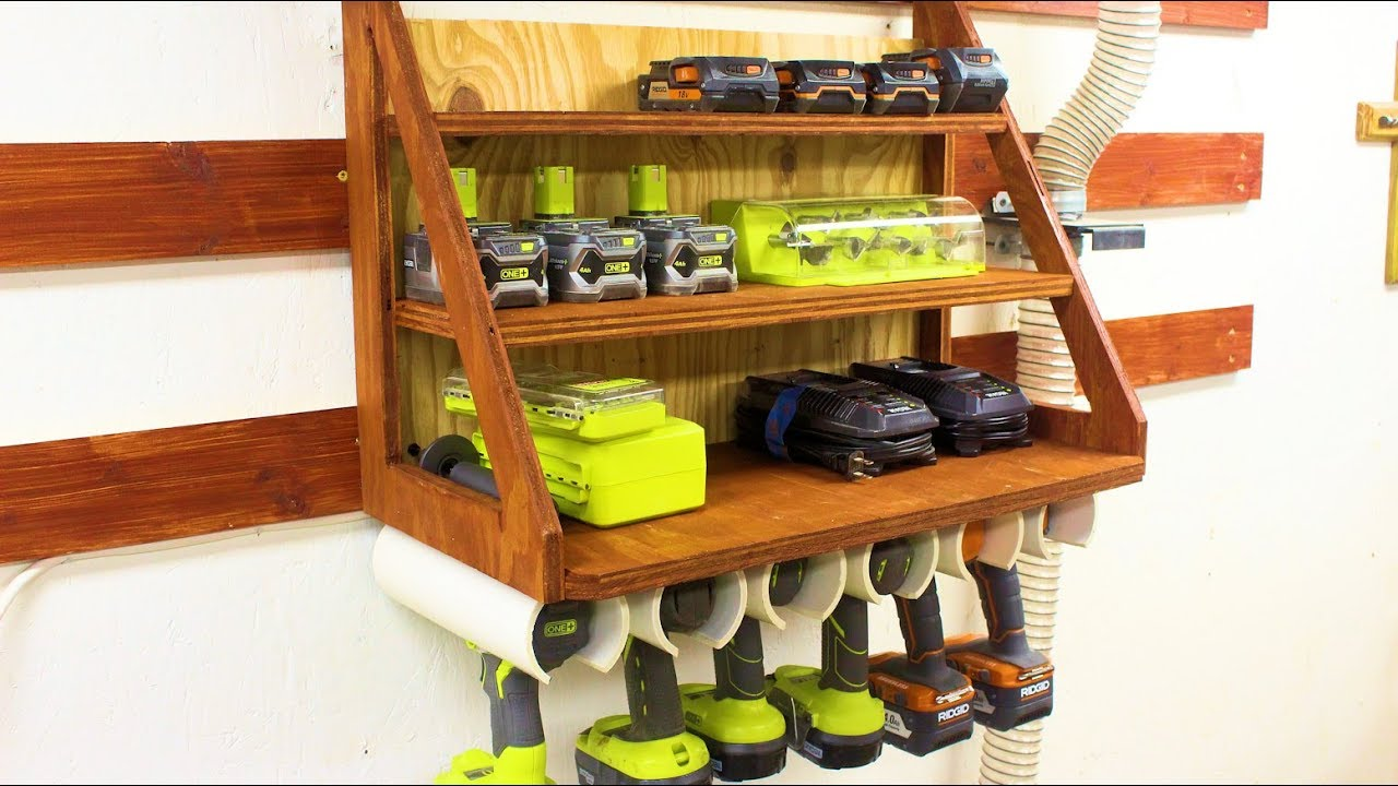 building a cordless drill charging station and storage rack on a french cleat wall