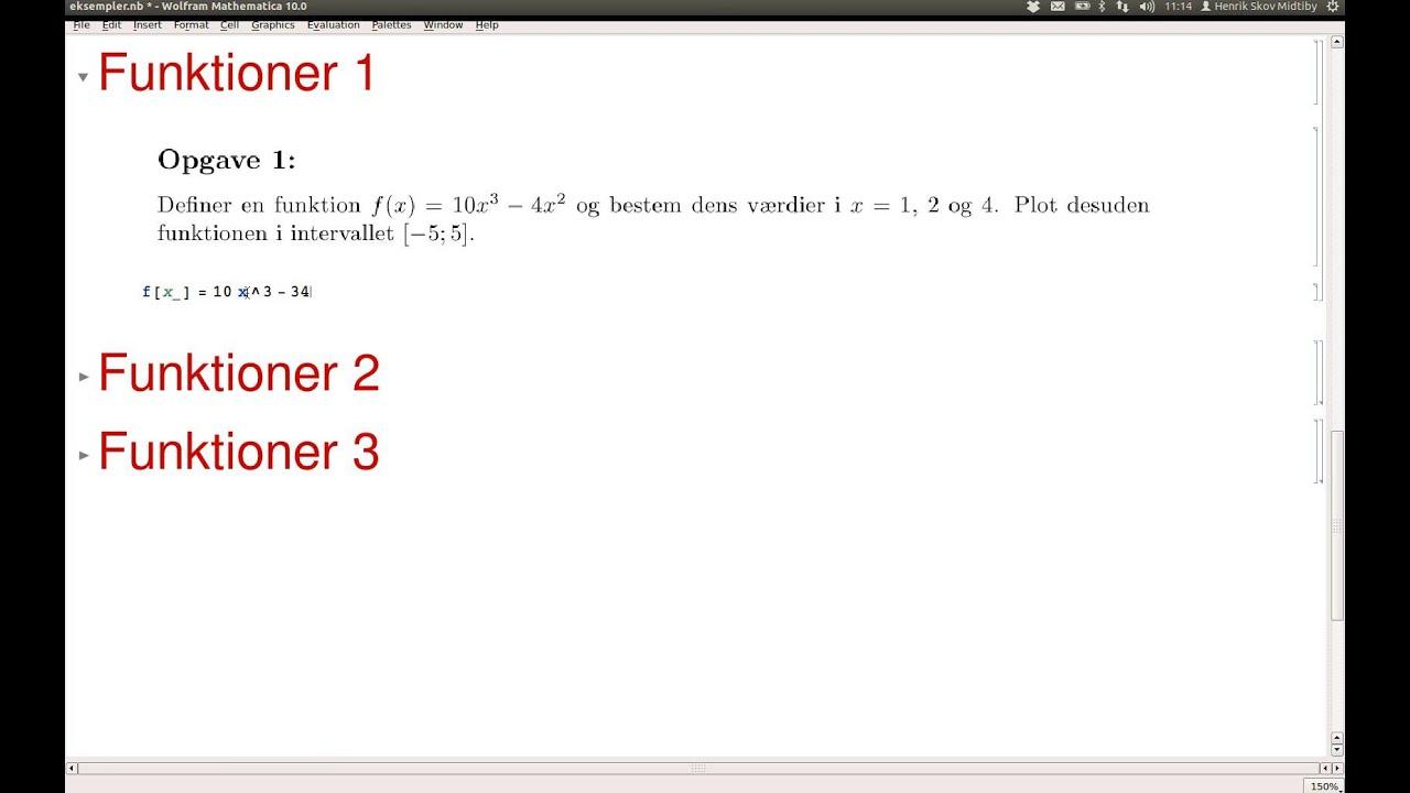 Eksempler på brug af mathematica