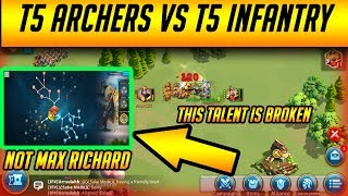 How to Battle Guide T5 Archers vs T5 Infantry [ Commander Talent Tree ] Subtitles | Rise of Kingdoms