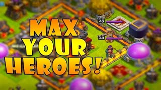 How to Quickly Level Your Heroes To Max - TH9 & TH10 Super Queen DE Farming | Clash of Clans