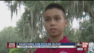 Boy's special baseball glove is stolen, and he's holding out hope for its return