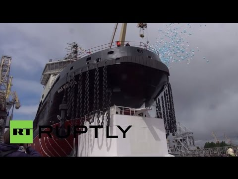 Russia: Military icebreaker launched from St. Petersburg