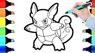 Pokemon Coloring Wartortle evolution I Fun Colouring videos for kids