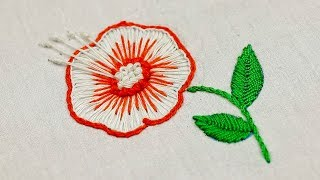 Very beautiful Mexican embroidery flower design with buttonhole stitch and french knots