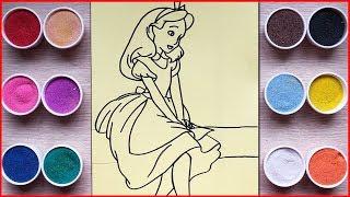Đồ chơi TÔ MÀU TRANH CÁT CÔNG CHÚA ALICE xứ sở thần tiên  - Sand painting Alice princess toys