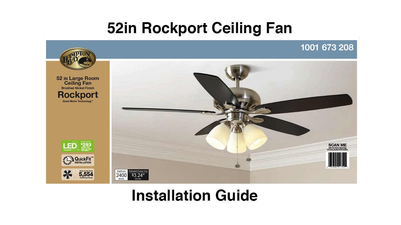 How to install the hampton bay 52 rockport ceiling fan youtube mozeypictures Image collections