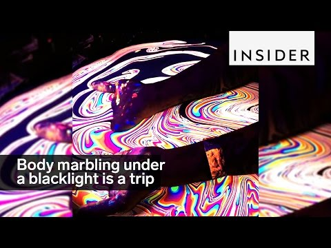 Body marbling under a blacklight is the ultimate trip