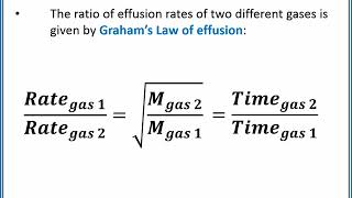 CHEMISTRY 101 - Diffusion and effusion of gases