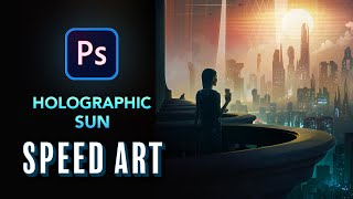 Creating a HOLOGRAPHIC SUN in Photoshop - NFT Speed Art