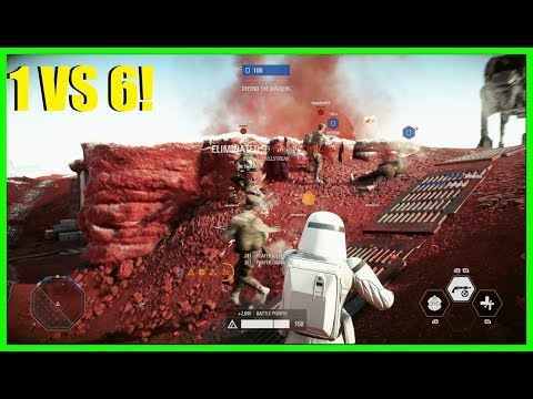 Star Wars Battlefront 2 - 1 vs 6! How many could we drop? Iden, great hero for Crait!