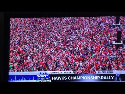 Corey Crawford does it again at the  2015 Chicago Blackhawks championship rally
