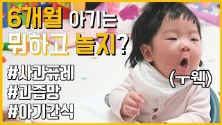 [육아브이로그] 6개월아기랑 놀기 /아기간식 / 사과퓨…
