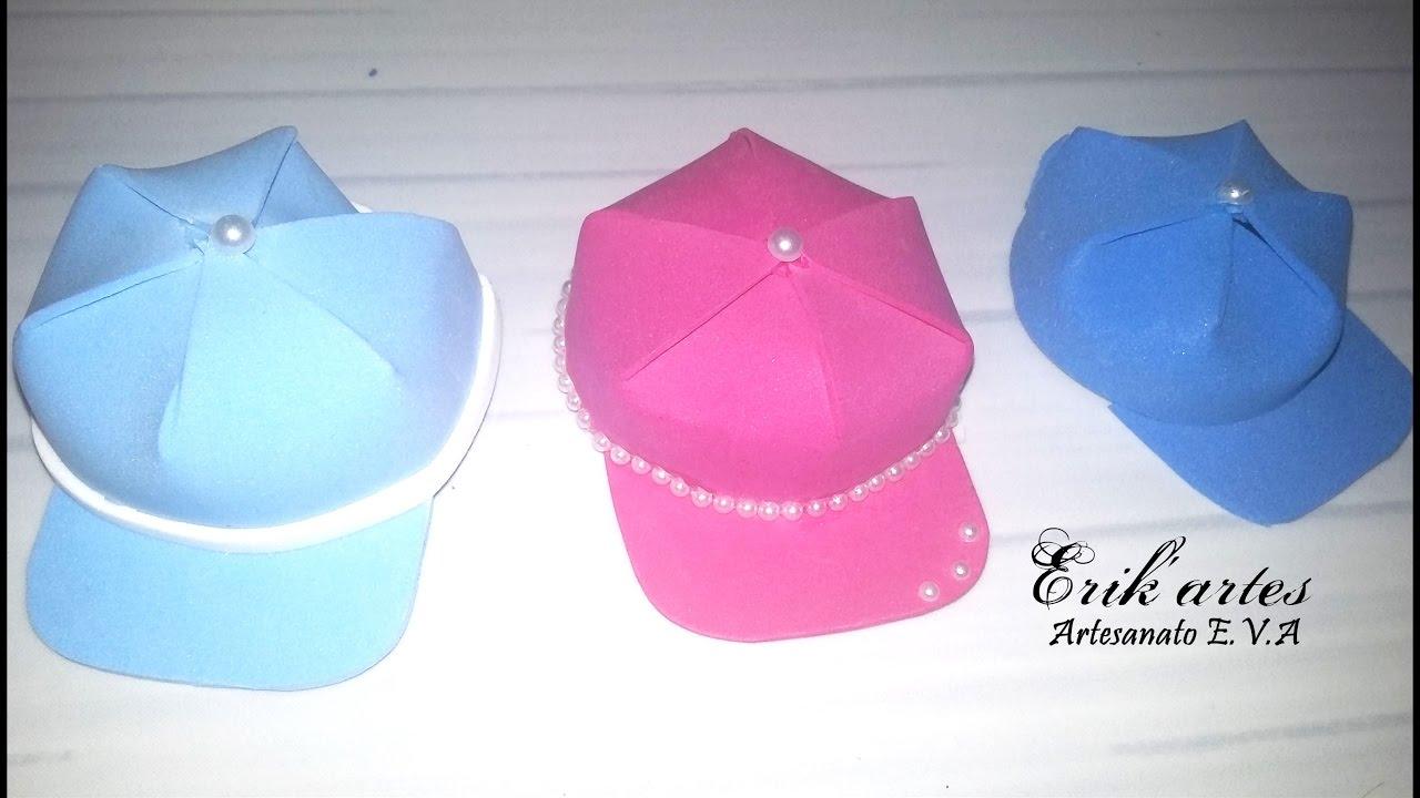 Boné chapeu de E.V.A para lembrancinha ou para fofucha - YouTube fac8c396329