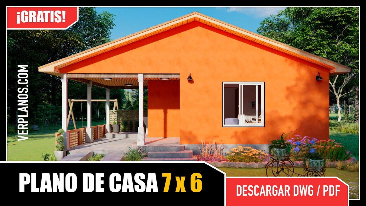 ✅ Plano de Casa Pequeña y Económica #2 Dormitorios (DWG/PDF)