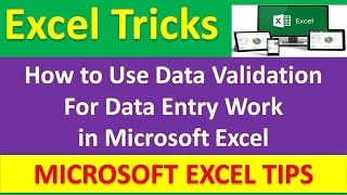 How to Use Data Validation For Data Entry Work in Microsoft Excel : Excel Tricks [Urdu / Hindi]