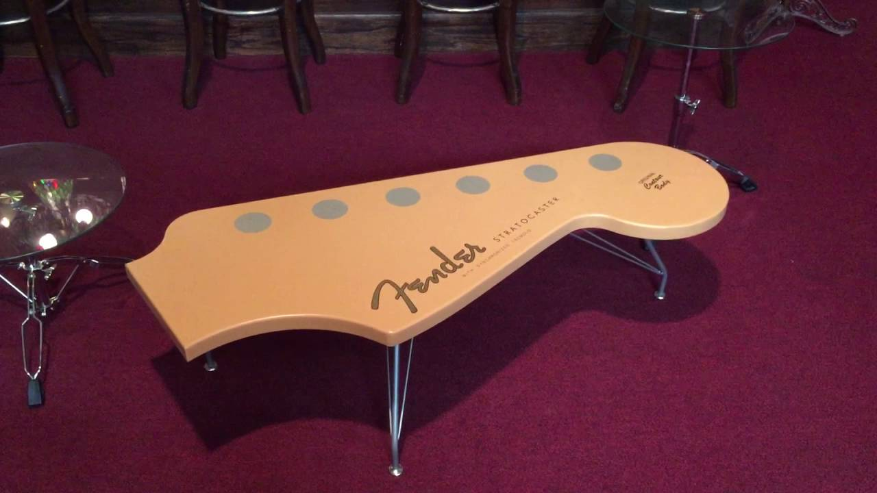 Fender stratocaster coffee table youtube fender stratocaster coffee table geotapseo Images