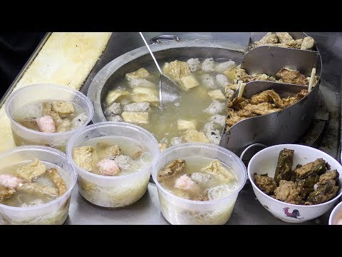 Yong Tau Fu with Fish, Prawn, Squid and Pork Filling. Singapore Street Food
