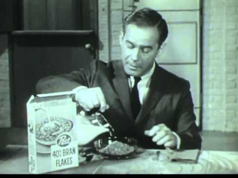 VINTAGE LATE 1950's COMMERCIAL with HARRY MORGAN - 40% BRAN FLAKES