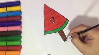 Karpuzlu Dondurma Nasıl Çizilir ? Watermelon Ice Cream Coloring