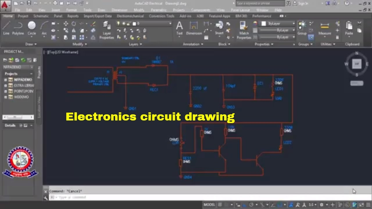 AutoCAD Electrical Tutorial Drawing Class 05 Electronics circuit ...
