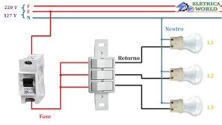 Como instalar um interruptor  de 3 teclas ou interruptor de 3 pinos